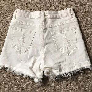 High waisted white jean shorts